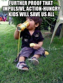 Kid drinking from can funny memes