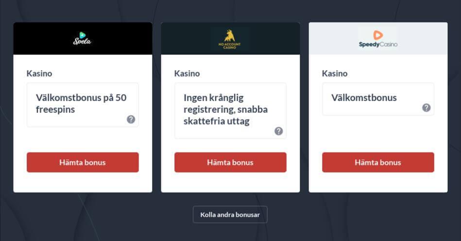 Online casinon utan registrering