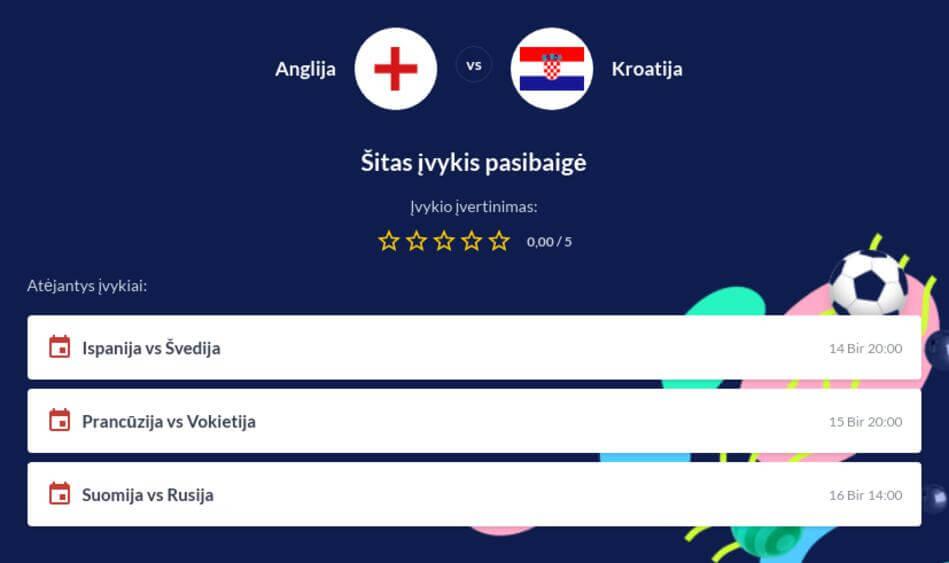 Anglija - Kroatija Tiesiogiai