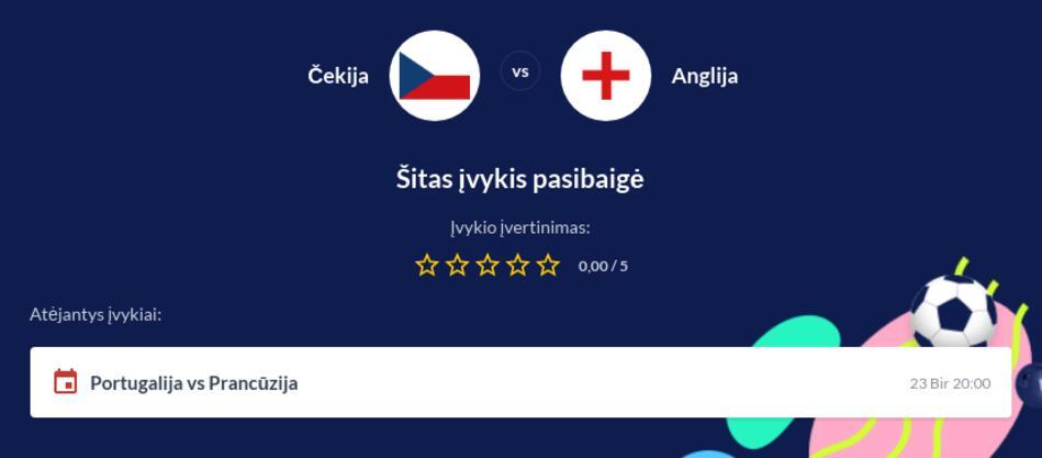Čekija - Anglija Tiesiogiai