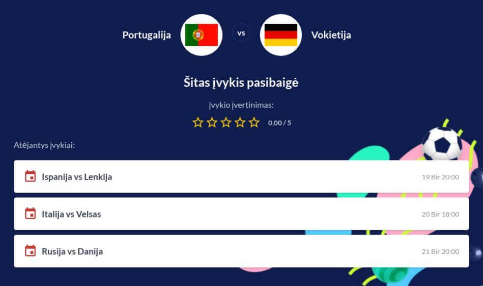 Portugalija - Vokietija Tiesiogiai