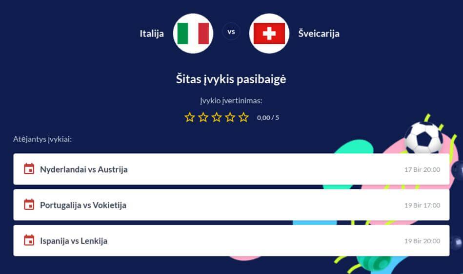 Italija - Šveicarija Tiesiogiai