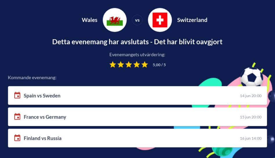 Wales - Schweiz gratis stream och odds