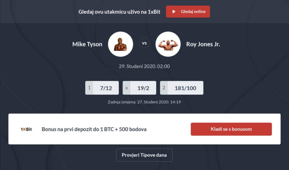 Mike Tyson - Roy Jones Junior Tipovi za klađenje