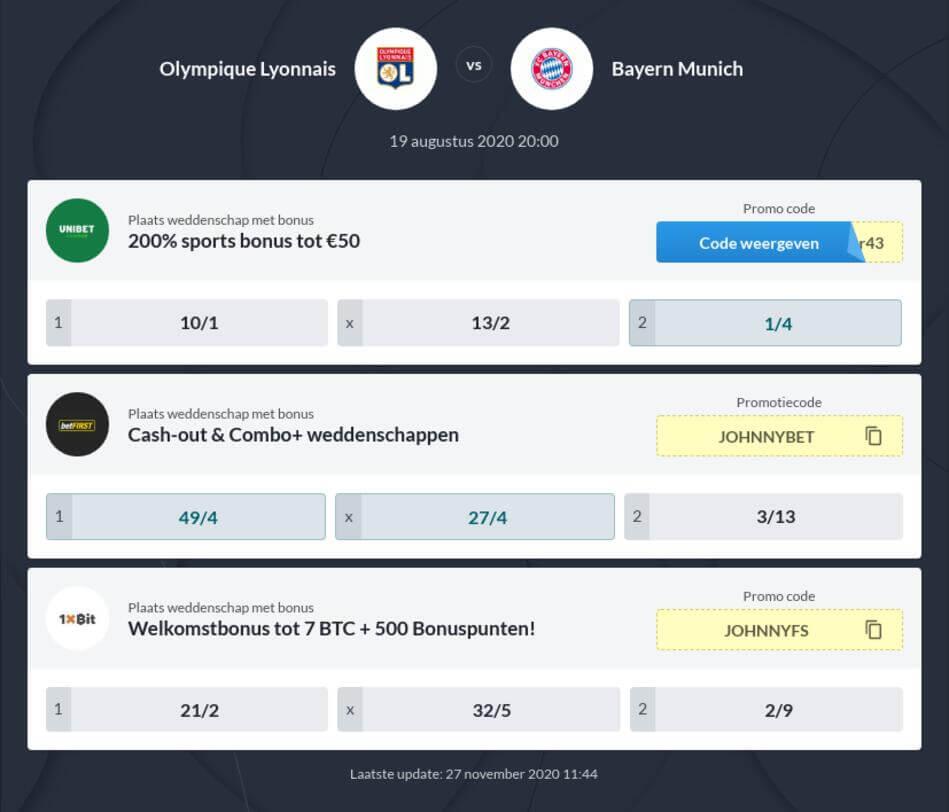 Olimpique Lyon - Bayern München Voorspelling en Odds
