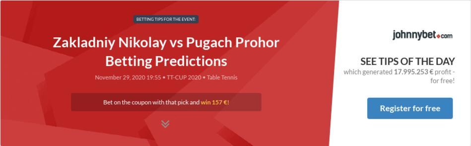 Zakladniy Nikolay vs Pugach Prohor Betting Predictions
