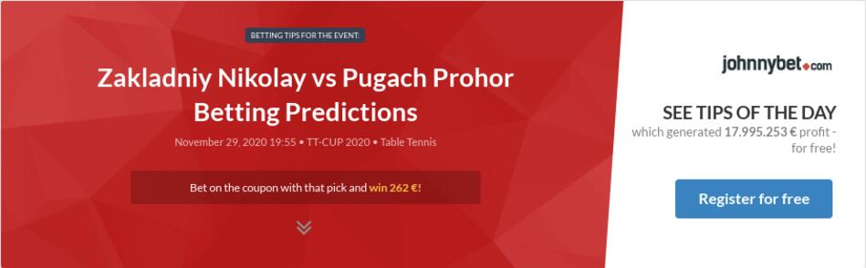Zakladniy Nikolay vs Pugach Prohor Betting Predictions
