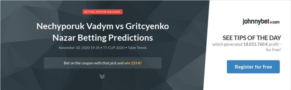 Nechyporuk Vadym vs Gritcyenko Nazar Betting Predictions