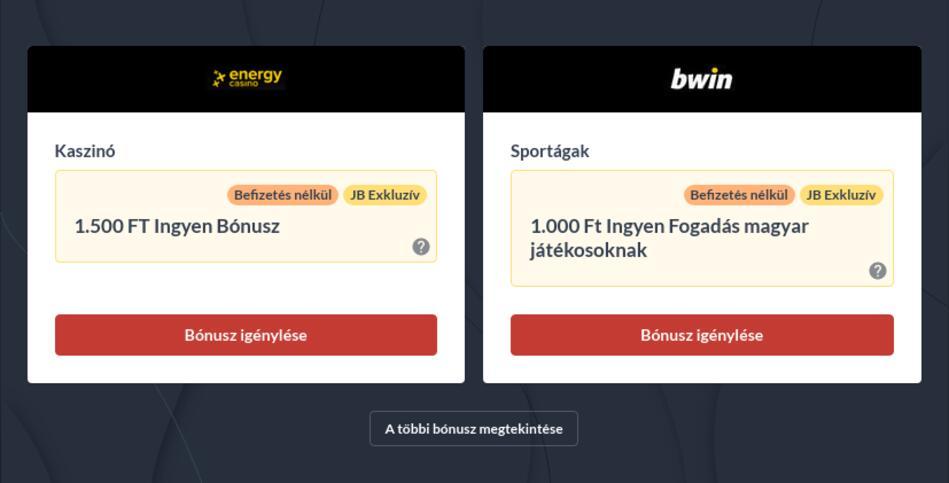 Befizetés nélküli bónuszok Magyarországon