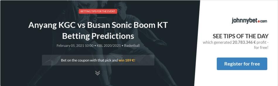 Anyang KGC vs Busan Sonic Boom KT Betting Predictions