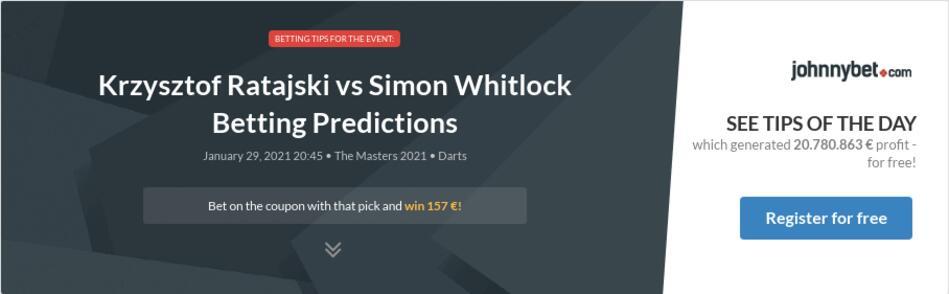 Krzysztof Ratajski vs Simon Whitlock Betting Predictions