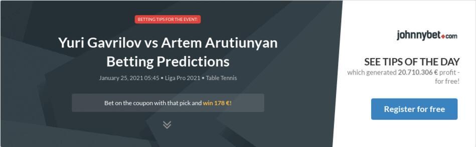 Yuri Gavrilov vs Artem Arutiunyan Betting Predictions