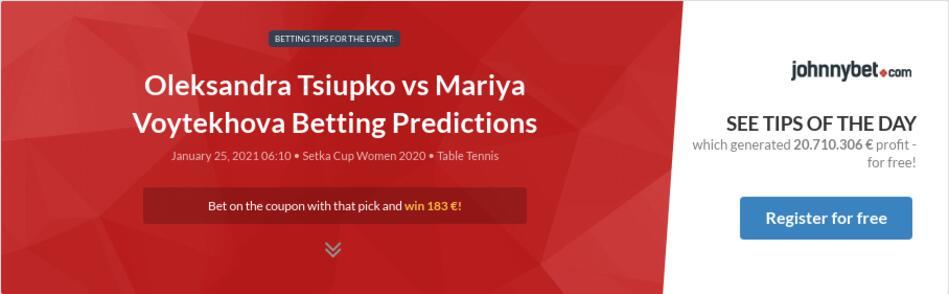 Oleksandra Tsiupko vs Mariya Voytekhova Betting Predictions