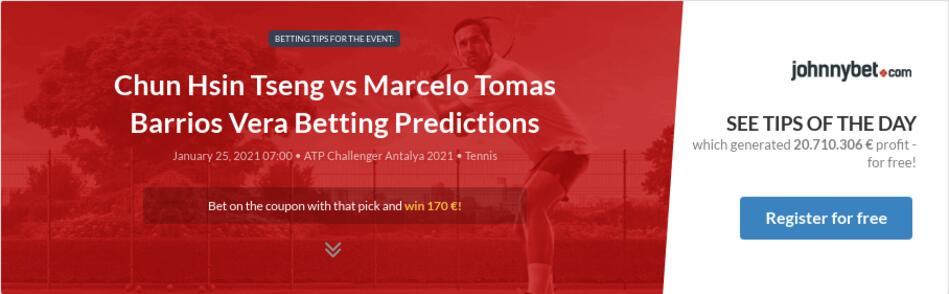 Chun Hsin Tseng vs Marcelo Tomas Barrios Vera Betting Predictions
