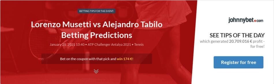 Lorenzo Musetti vs Alejandro Tabilo Betting Predictions