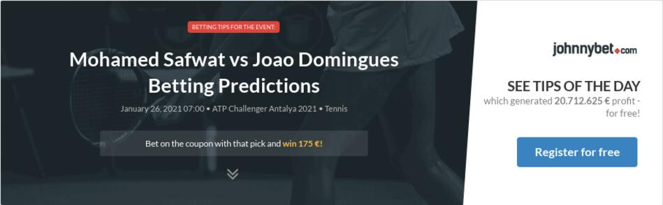 Mohamed Safwat vs Joao Domingues Betting Predictions
