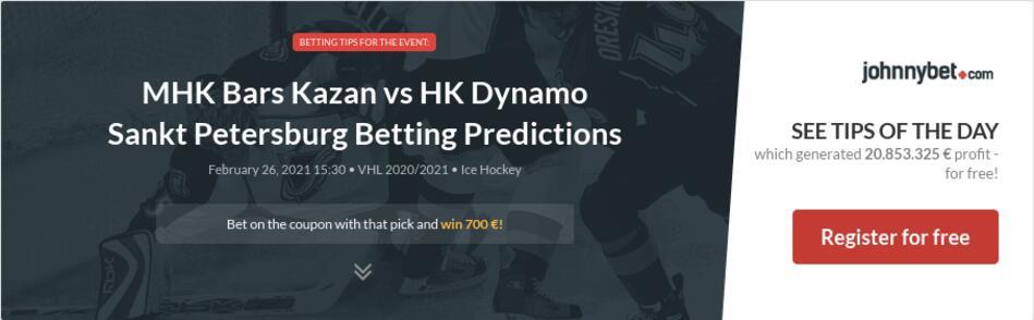 MHK Bars Kazan vs HK Dynamo Sankt Petersburg Betting Predictions