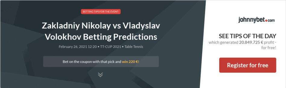Zakladniy Nikolay vs Vladyslav Volokhov Betting Predictions