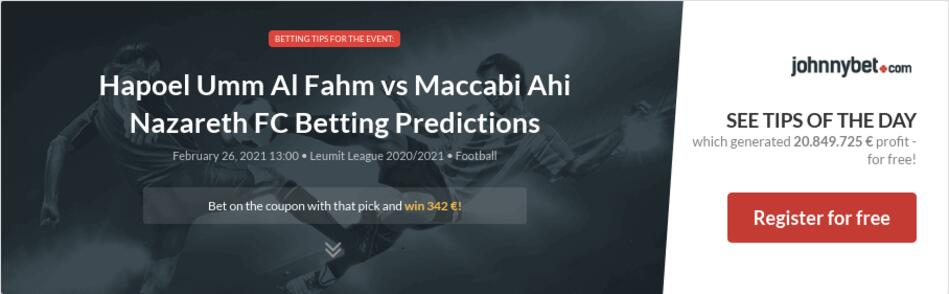 Hapoel Umm Al Fahm vs Maccabi Ahi Nazareth FC Betting Predictions