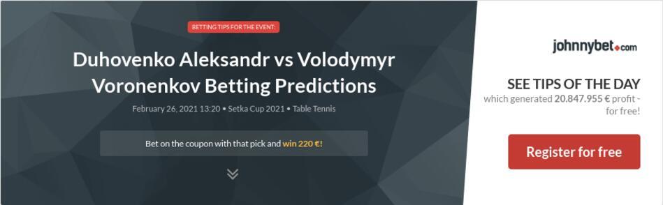 Duhovenko Aleksandr vs Volodymyr Voronenkov Betting Predictions