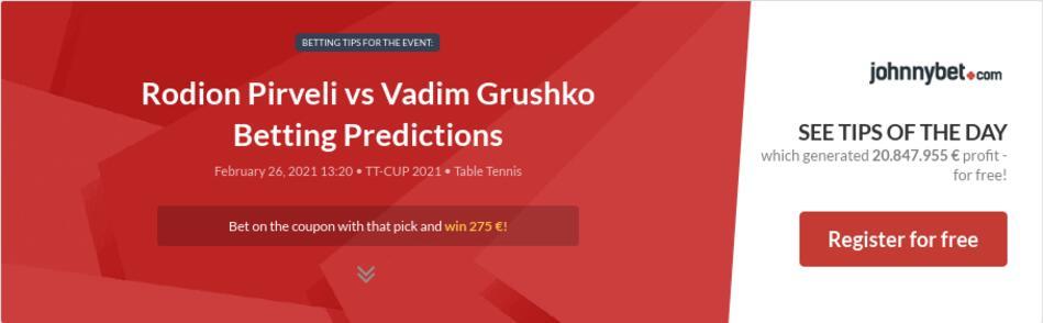 Rodion Pirveli vs Vadim Grushko Betting Predictions