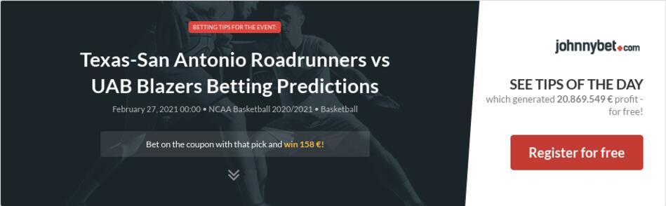 Texas-San Antonio Roadrunners vs UAB Blazers Betting Predictions