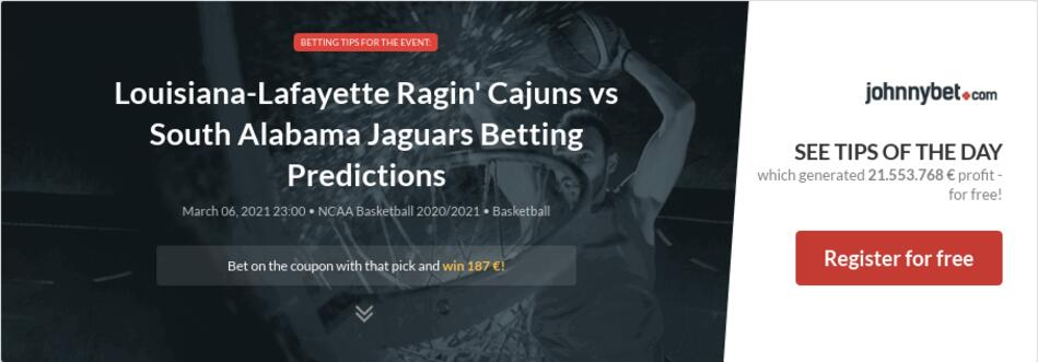 Louisiana-Lafayette Ragin' Cajuns vs South Alabama Jaguars Betting Predictions