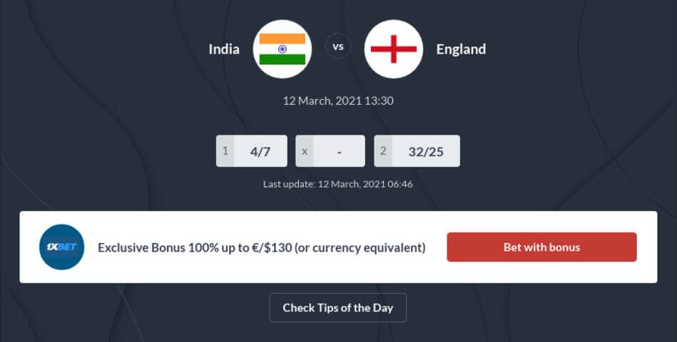 India vs England Betting Tips