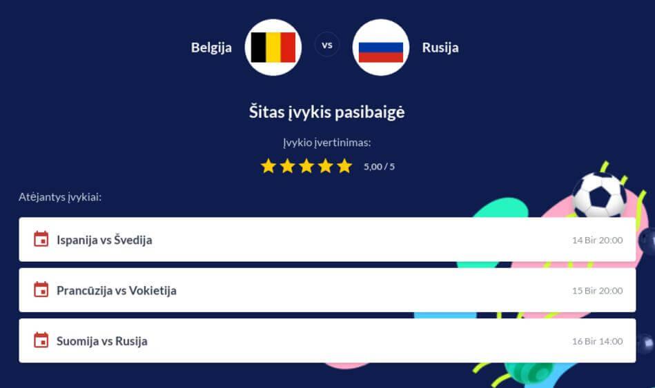Belgija - Rusija Tiesiogiai