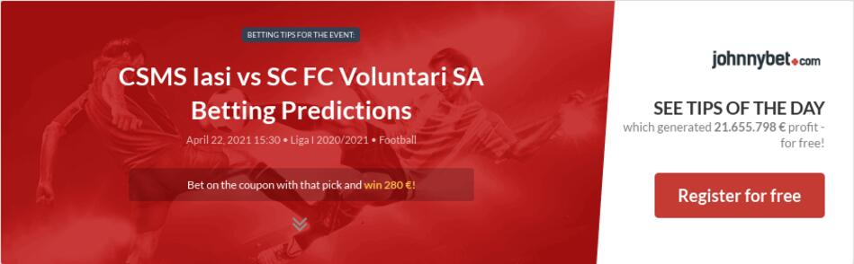 CSMS Iasi vs SC FC Voluntari SA Betting Predictions