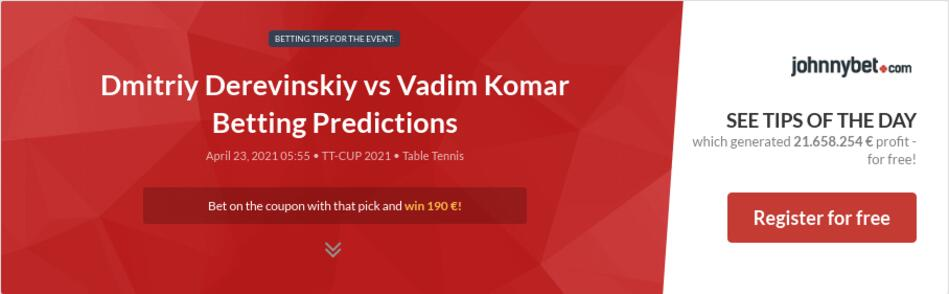 Dmitriy Derevinskiy vs Vadim Komar Betting Predictions