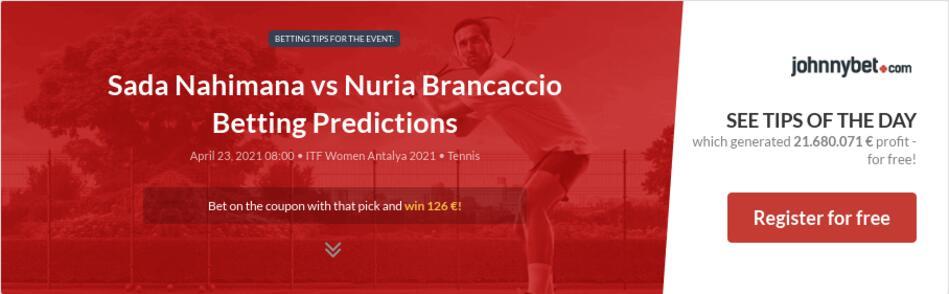 Sada Nahimana vs Nuria Brancaccio Betting Predictions