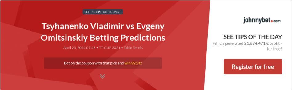 Tsyhanenko Vladimir vs Evgeny Omitsinskiy Betting Predictions