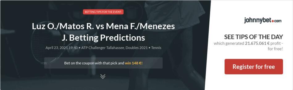 Luz O./Matos R. vs Mena F./Menezes J. Betting Predictions