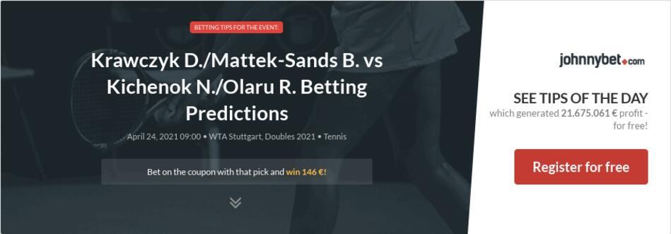 Krawczyk D./Mattek-Sands B. vs Kichenok N./Olaru R. Betting Predictions