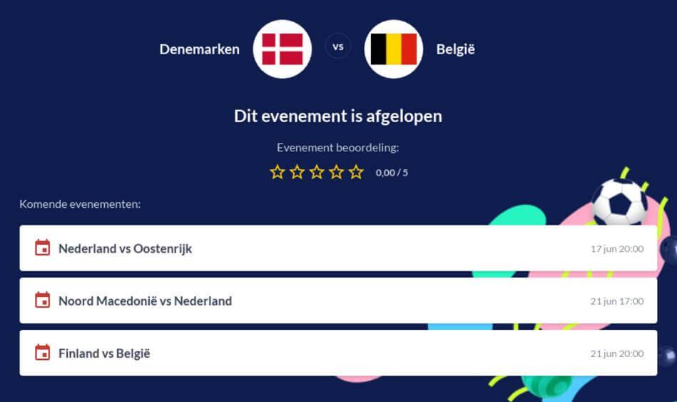Voorspelling België - Denemarken