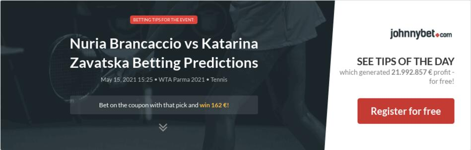 Nuria Brancaccio vs Katarina Zavatska Betting Predictions