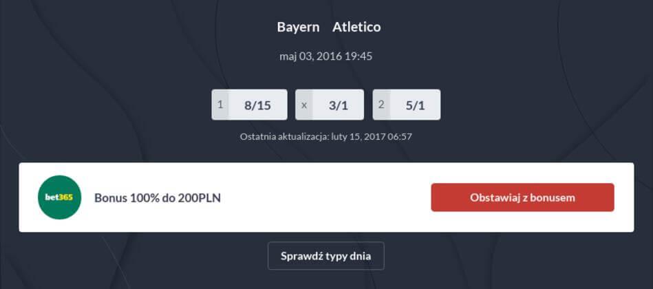 Bayern - Atletico 3.04.2016 Kursy Bukmacherskie