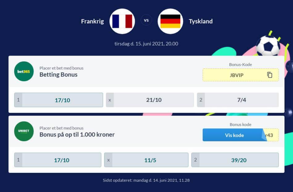 Frankrig – Tyskland Betting Odds