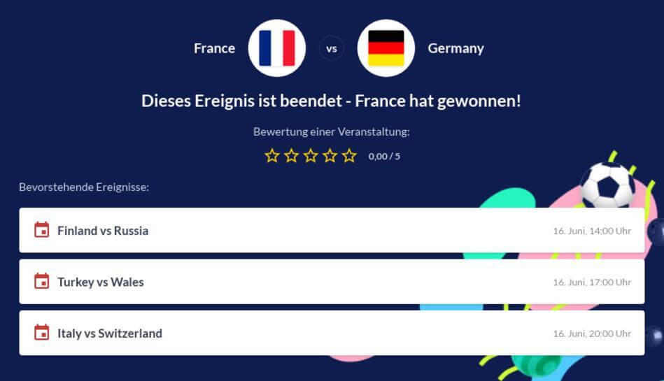 Deutschland - Frankreich Wettquoten