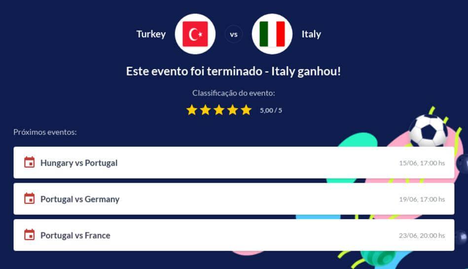 Prognóstico Turquia vs Itália