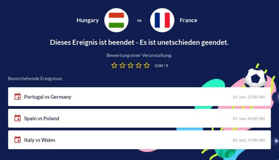 Ungarn - Frankreich Wettquoten
