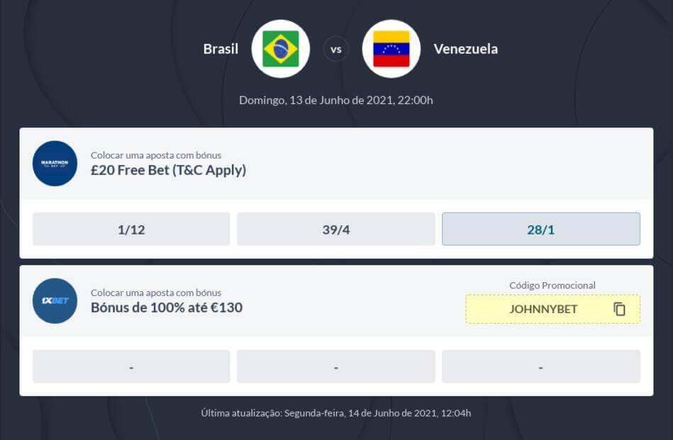 Prognóstico Brasil x Venezuela