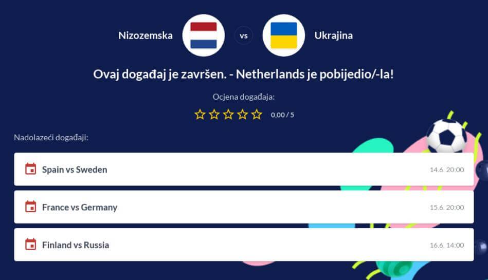 Nizozemska - Ukrajina Kvote i Prijenos Uživo