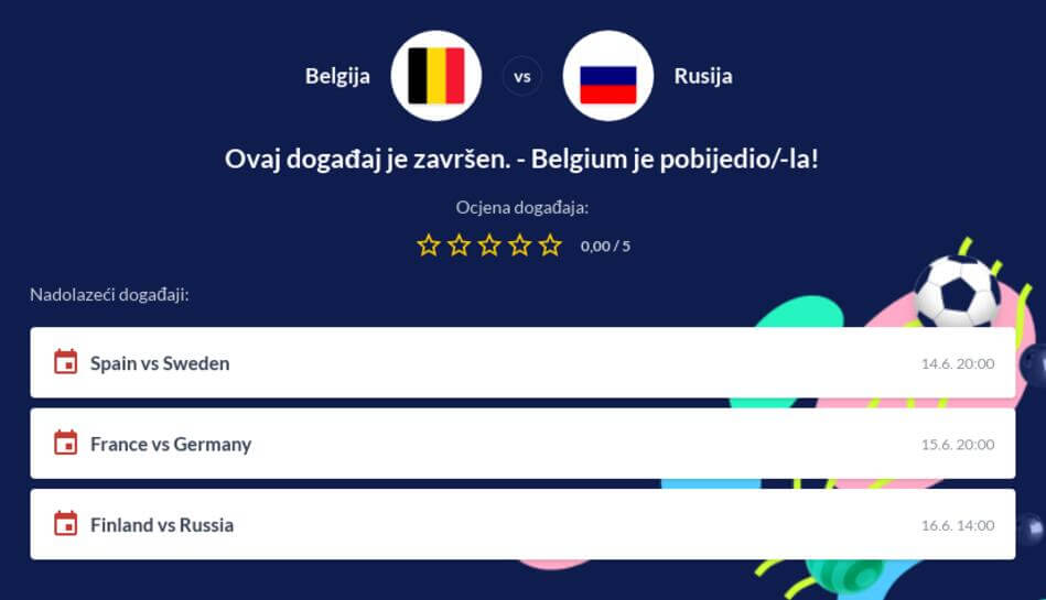 Belgija - Rusija Kvote i Prijenos Uživo