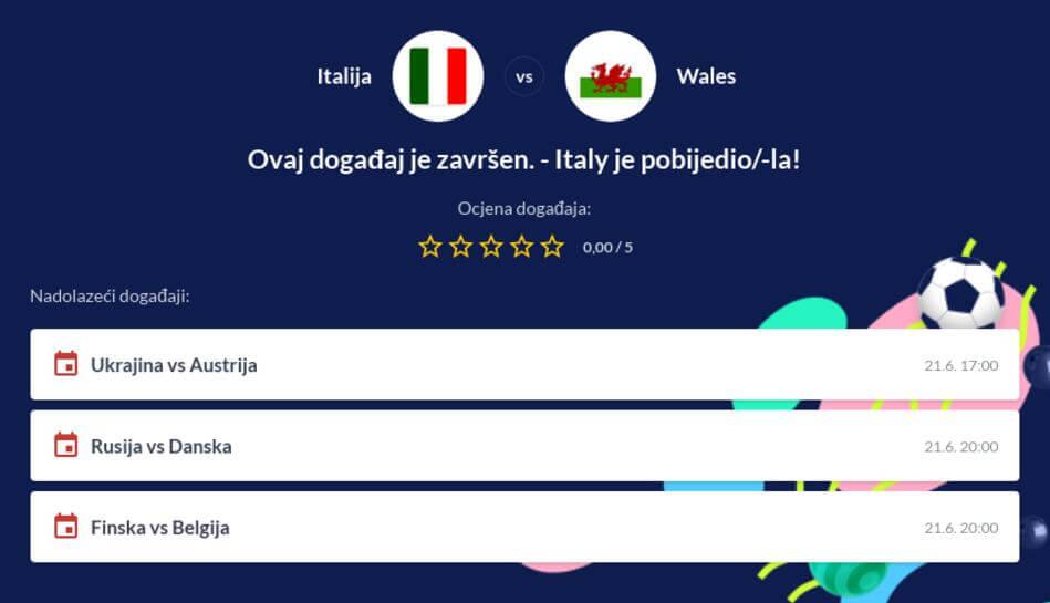 Italija - Wales Kvote i Prijenos Uživo