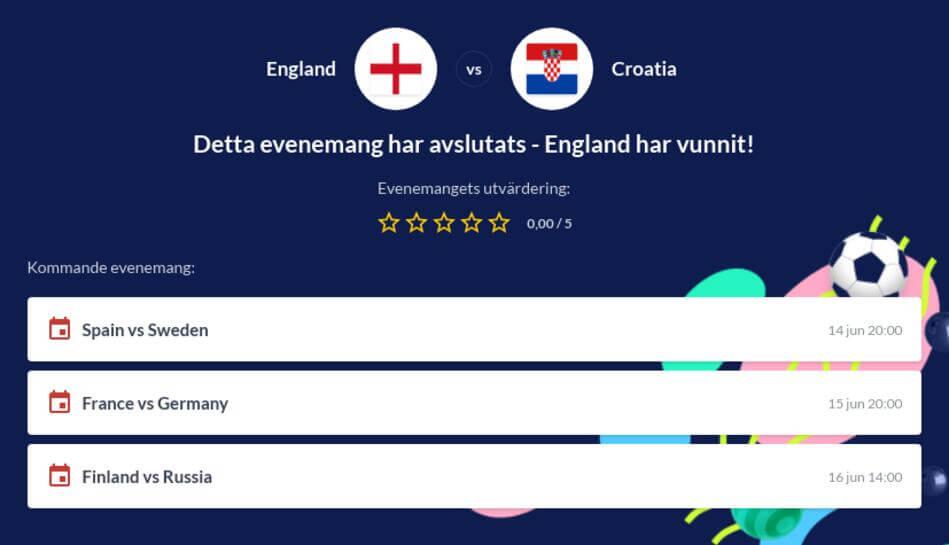 England - Kroatien gratis stream och odds