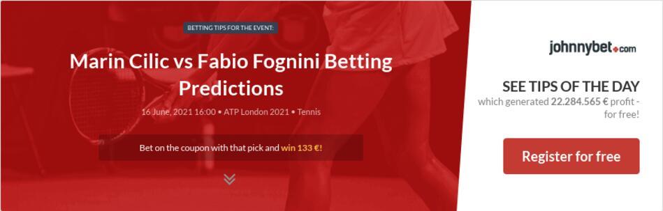 Marin Cilic vs Fabio Fognini Betting Predictions