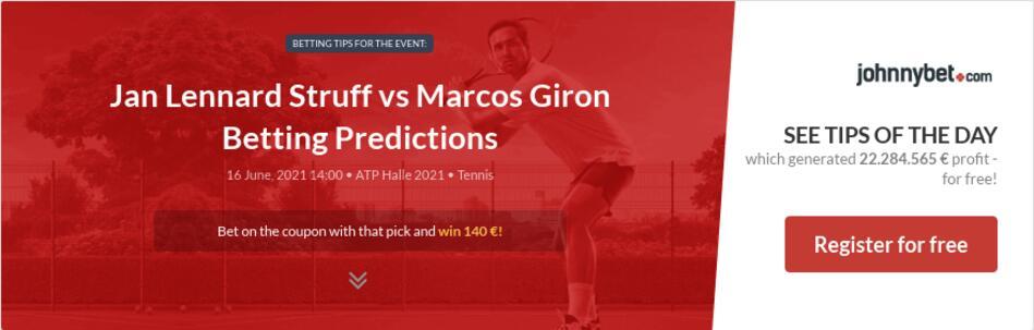 Jan Lennard Struff vs Marcos Giron Betting Predictions