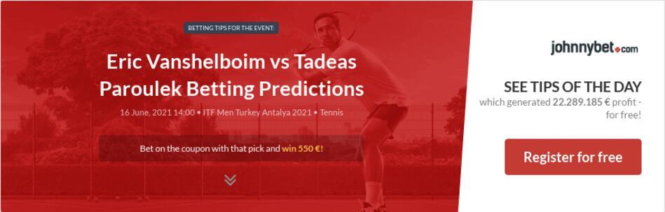 Eric Vanshelboim vs Tadeas Paroulek Betting Predictions